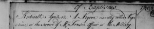 Baptism of Negro called Neptune, Kirkwall, Orkney 12 April 1750. Snip from record.