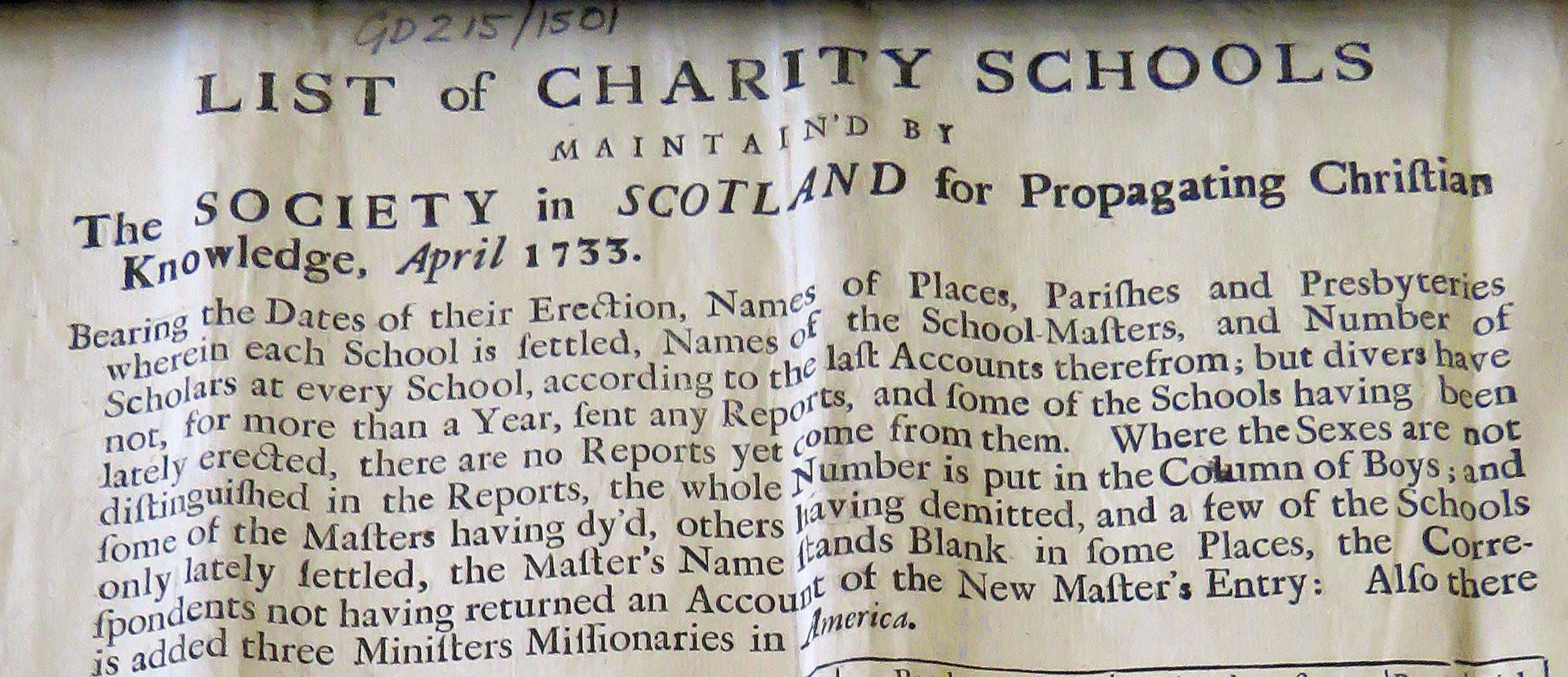 Header to list of SSPCK school 1733