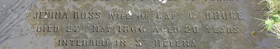 snip of gravestone with Jemima Ross's information