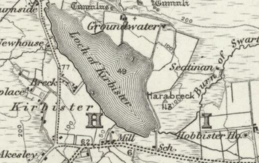 snip of map showing Kirbister Loch