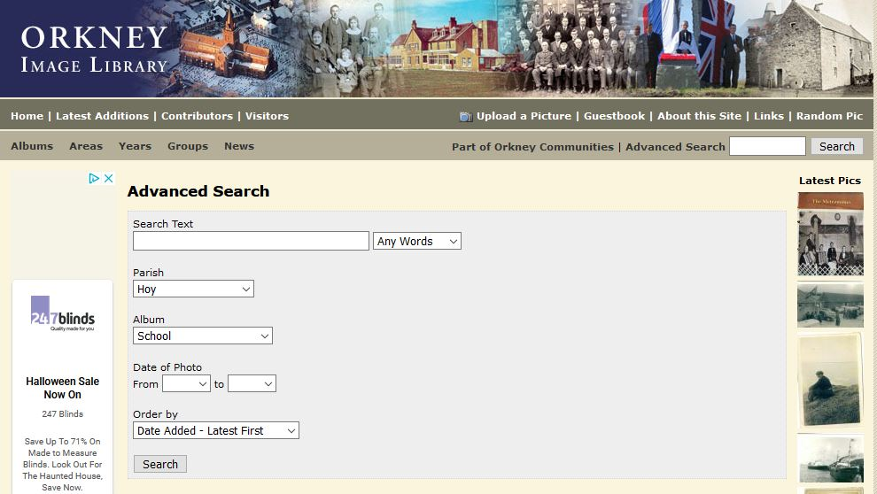 Snip showing the search needed to find photos on the Orkney Image Library